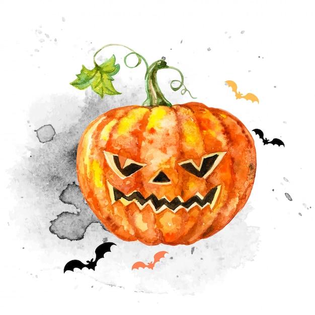 Carte d'aquarelle festive pour halloween avec une citrouille effrayante. Vecteur Premium