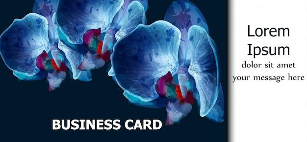 Carte aquarelle d'orchidées bleues Vecteur Premium
