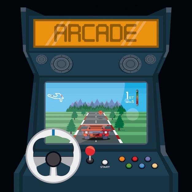 Carte d'arcade de jeux vidéo rétro Vecteur Premium