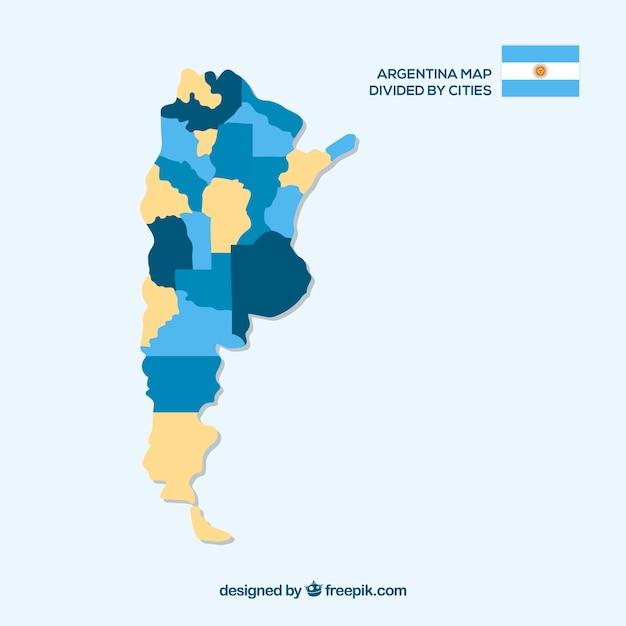 Carte de l'argentine divisée par villes Vecteur gratuit
