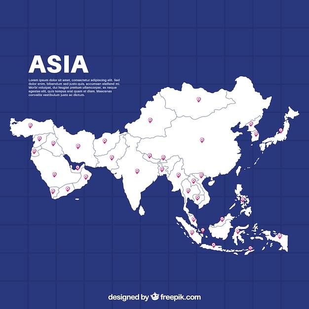 Carte de l'asie dans le style plat Vecteur gratuit