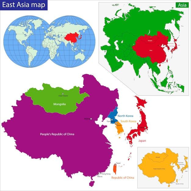 Carte Asie Orientale.Carte De L Asie Orientale Telecharger Des Vecteurs Premium