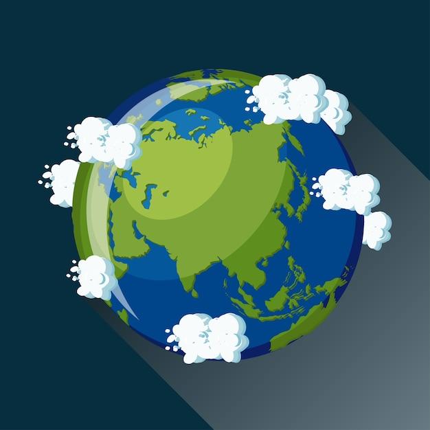 Carte de l'asie sur la planète terre, vue depuis l'espace. icône de globe asiatique. Vecteur Premium