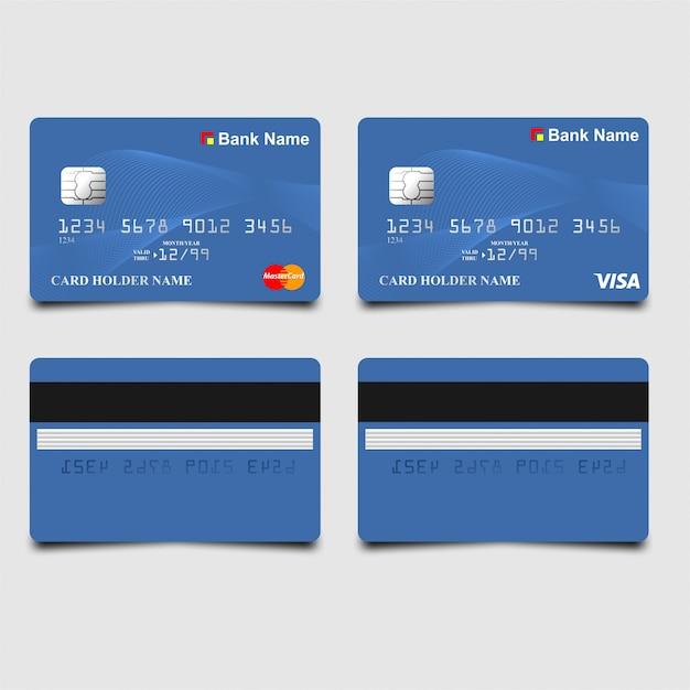 Carte atm bleue élégante Vecteur Premium