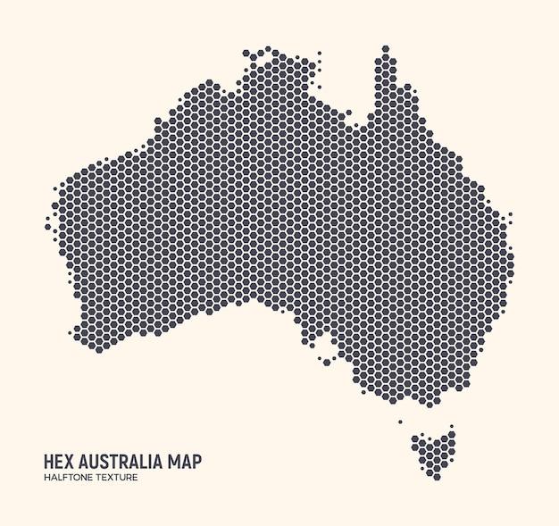 Carte De L'australie Hexagonale Isolée Sur Fond Clair. Fond D'écran Du Continent Australien En Demi-teintes Hexagonales Vecteur Premium