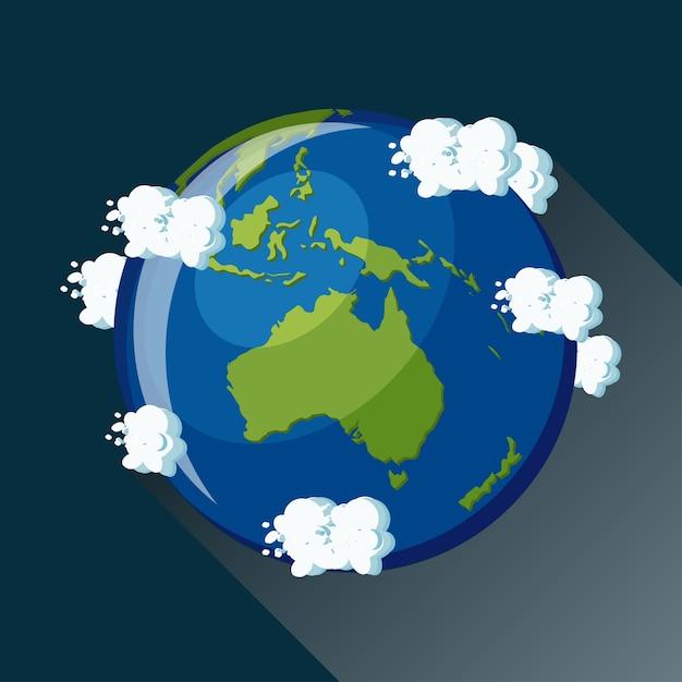 Carte de l'australie sur la planète terre, vue depuis l'espace. icône de globe australien. Vecteur Premium