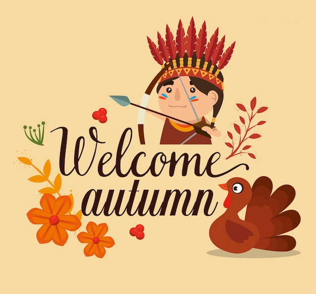 Carte d'automne de bienvenue avec dinde et indigène Vecteur gratuit