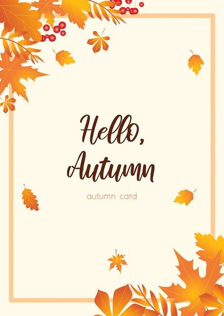 Carte d'automne orange Vecteur Premium