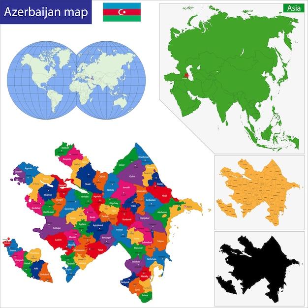 Carte de l'azerbaïdjan Vecteur Premium