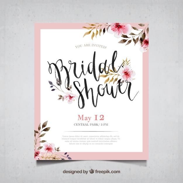 Carte de bachelorette avec des fleurs à l'aquarelle Vecteur gratuit