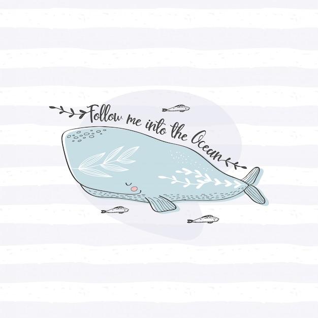Carte de baleine dessinée à la main mignonne. animal océan dessiné à la main Vecteur Premium