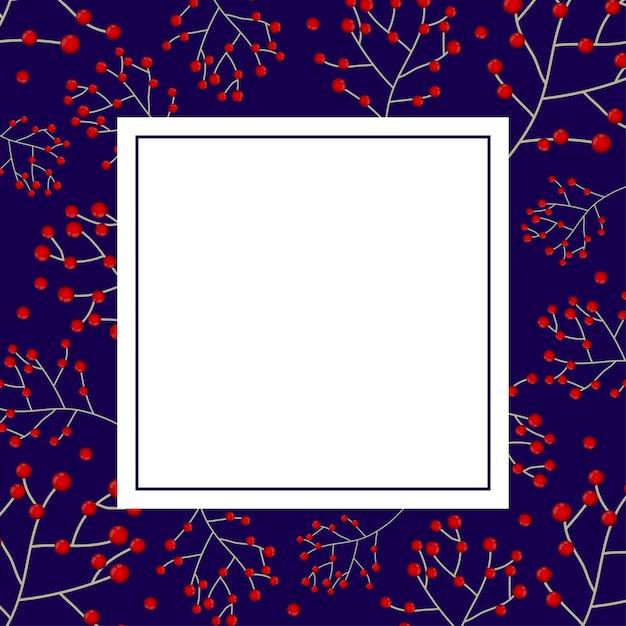 Carte de bannière aux baies rouges et bleu marine Vecteur Premium