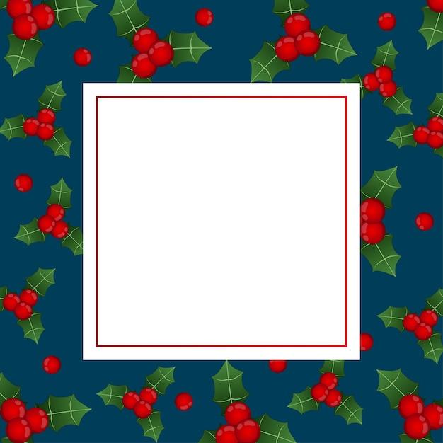 Carte de bannière aux baies rouges noires sur bleu indigo Vecteur Premium