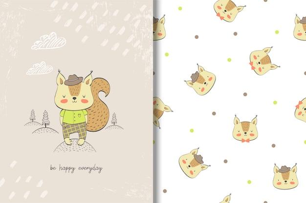 Carte de bébé écureuil mignon et modèle sans couture. Vecteur Premium