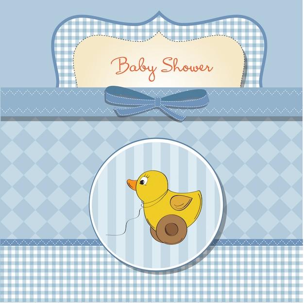Carte de bienvenue avec jouet de canard Vecteur Premium