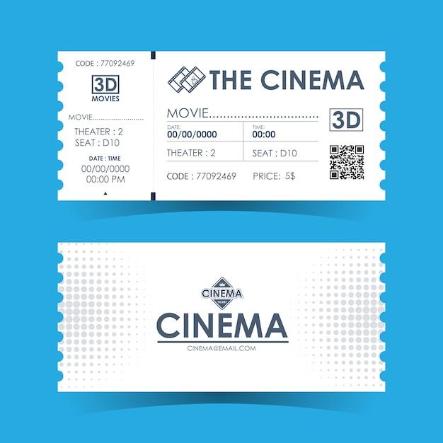 Carte De Billet De Cinéma. Modèle D'élément Pour La Conception. Vecteur Premium
