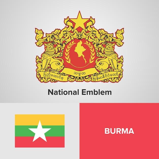 Carte Birmanie A Telecharger.Carte De La Birmanie Drapeau Et Embleme National