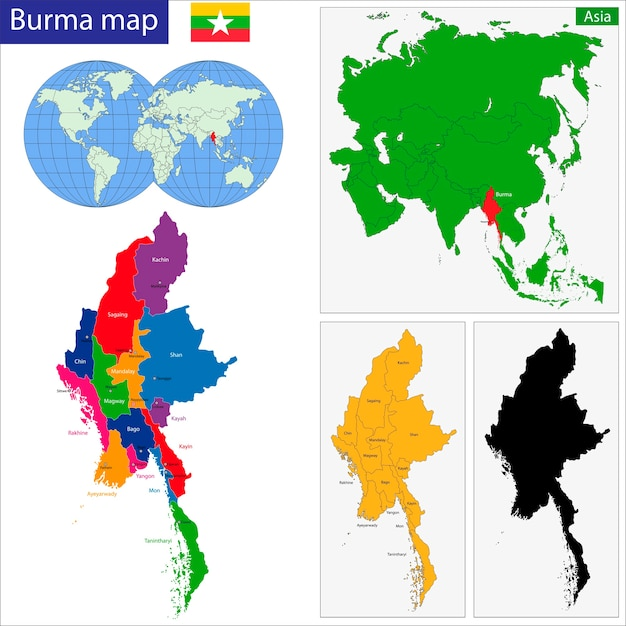 Carte Birmanie A Telecharger.Carte De La Birmanie Telecharger Des Vecteurs Premium
