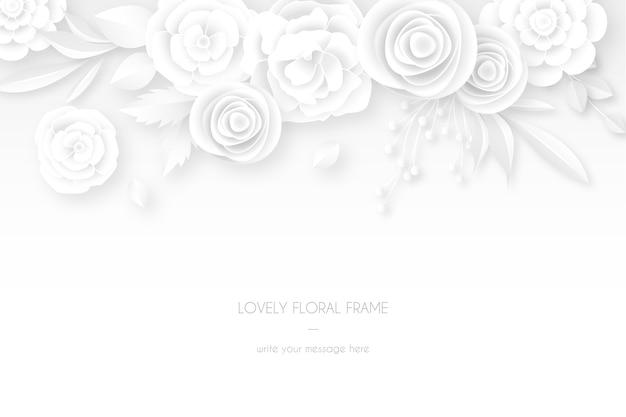 Carte Blanche élégante Avec Décoration Florale Blanche Vecteur gratuit