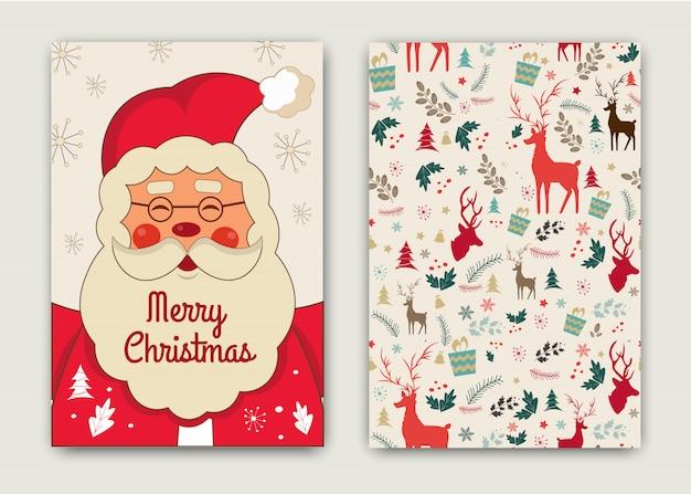 Carte De Bonne Annee Et Joyeux Noel Avec Drole De Pere Noel Vecteur Premium