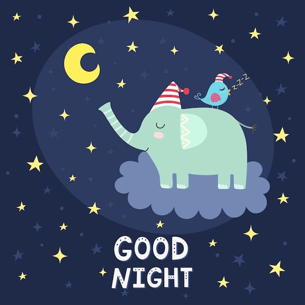 Carte de bonne nuit avec l'éléphant mignon volant sur le nuage Vecteur Premium