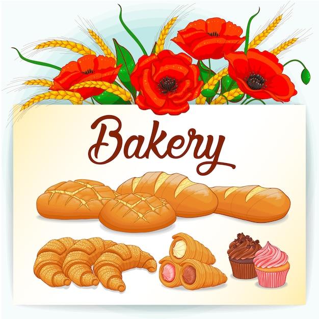 Carte de boulangerie avec coquelicots et collection de pâtisseries Vecteur Premium