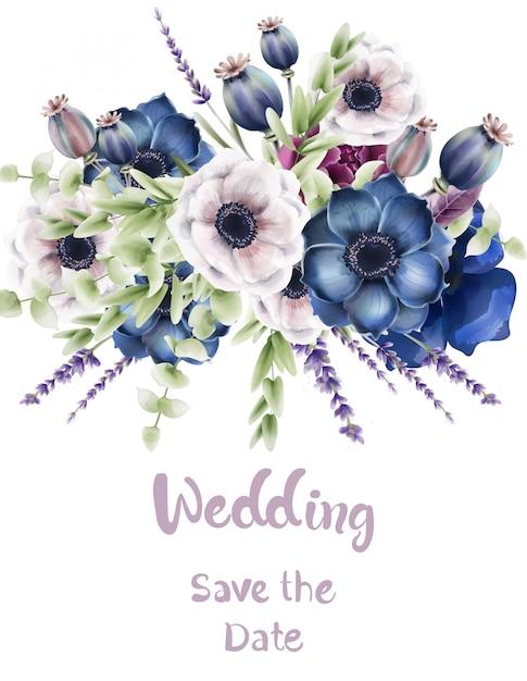 Carte de bouquet de fleurs de la forêt sauvage Vecteur Premium