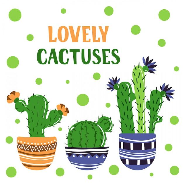 Carte de cactus Vecteur Premium