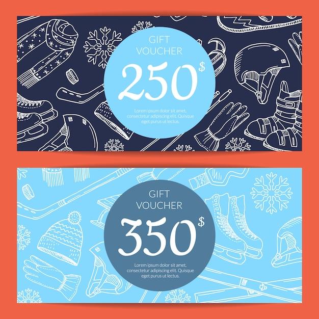 Carte-cadeau Ou Bon Cadeau Sport D'hiver Vecteur Premium