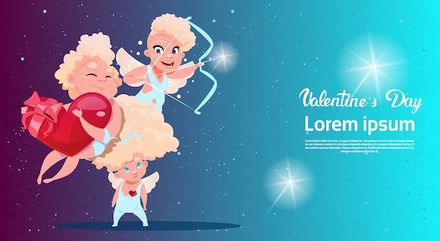 Carte-cadeau De Saint-valentin En Forme De Cœur Love Cupidon Love Amour Vecteur Premium