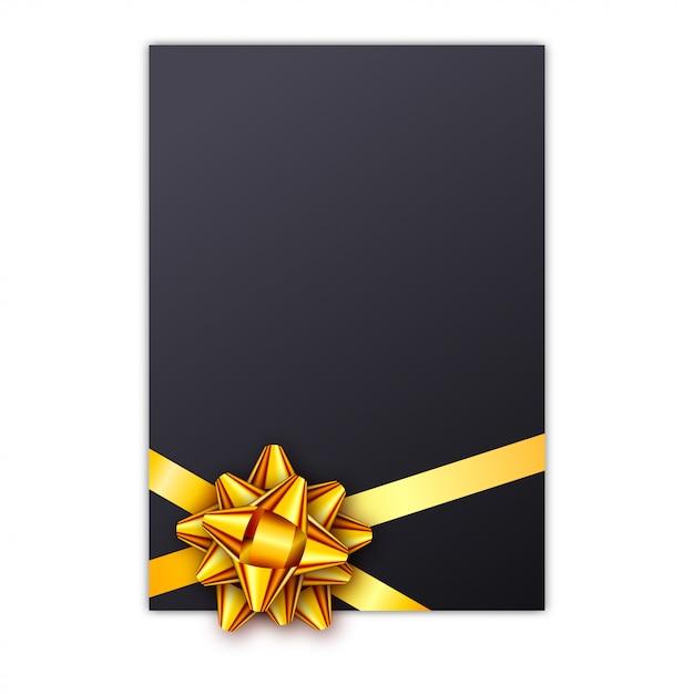 Carte-cadeau de vacances noire avec ruban doré et noeud Vecteur Premium