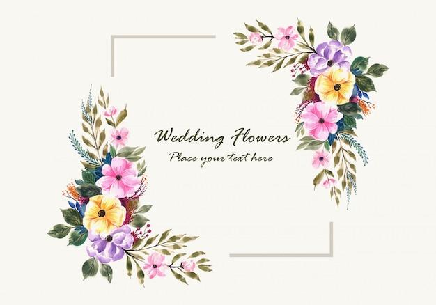 Carte De Cadre De Fleurs D'invitation De Mariage Romantique Vecteur gratuit