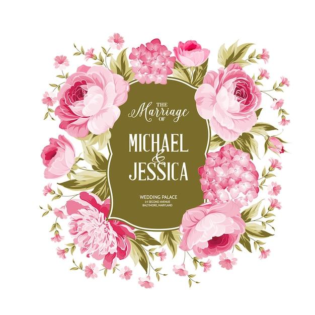 Carte De Cadre Rose Et Hortensia En Fleurs. Vecteur gratuit