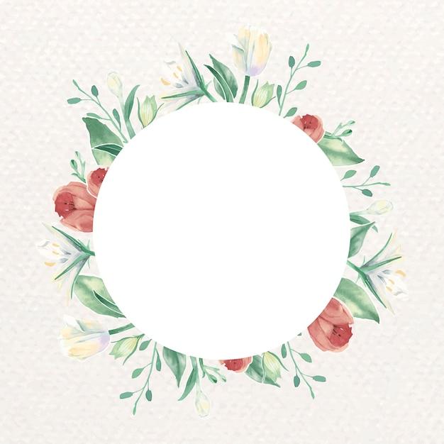 Carte cadre tulipe rouge Vecteur gratuit