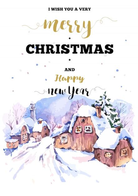 Carte De Cadre Vertical De Noël Avec Paysage D'hiver Saluer Vecteur Premium