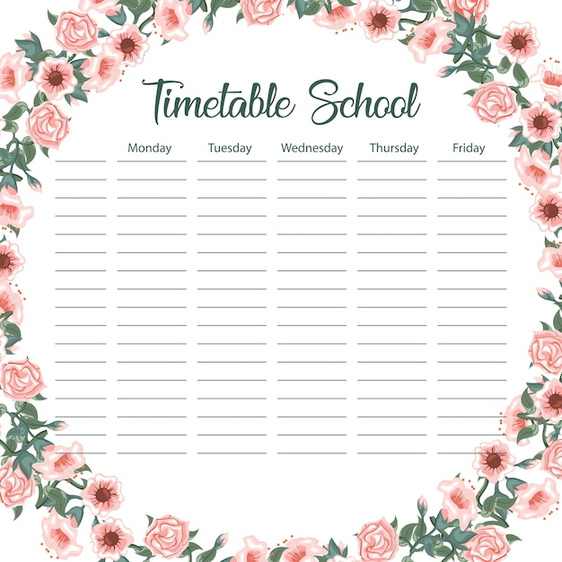Carte de calendrier scolaire créative avec arche de fleur et feuilles Vecteur Premium