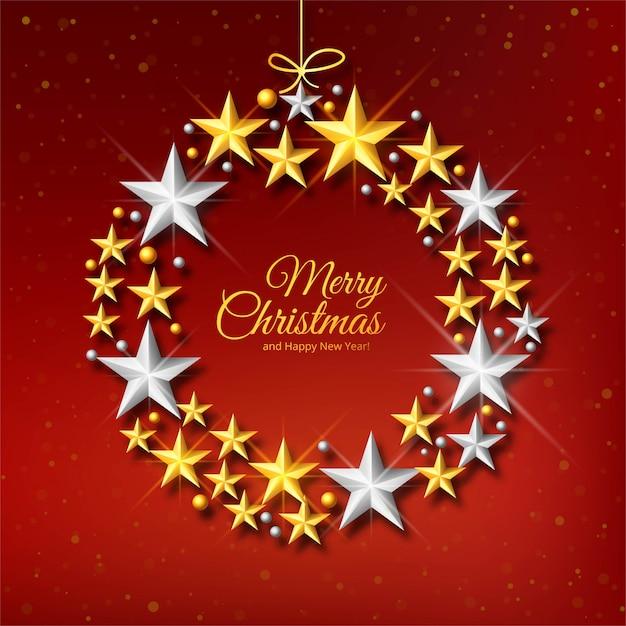 Carte De Célébration De Boule De Noël étoiles Décoratives Vecteur gratuit