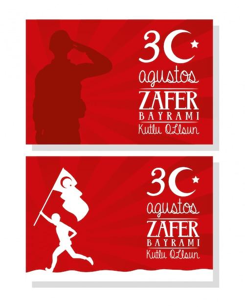 Carte De Célébration Zafer Bayrami Avec Soldat En Cours D'exécution Avec Drapeau Vecteur Premium