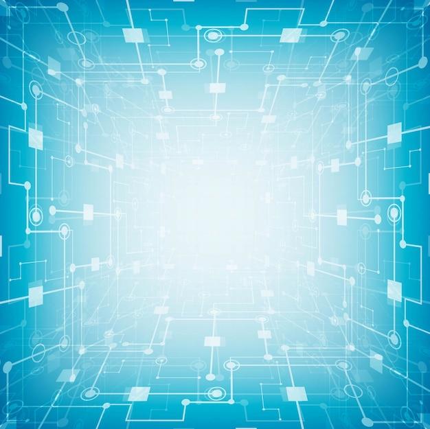 Carte de circuit futuriste abstraite, concept de technologie numérique haute technologie ordinateur fond bleu Vecteur gratuit