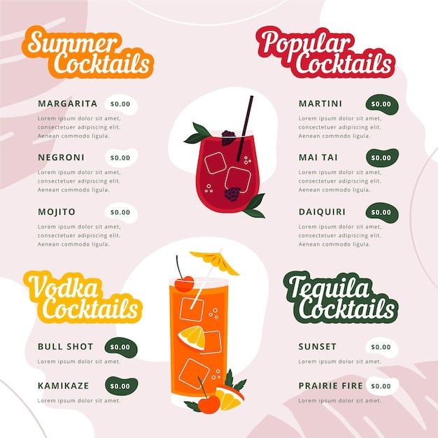 Carte De Cocktails Moderne Avec Illustrations Vecteur gratuit