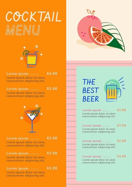 Carte De Cocktails Vecteur gratuit