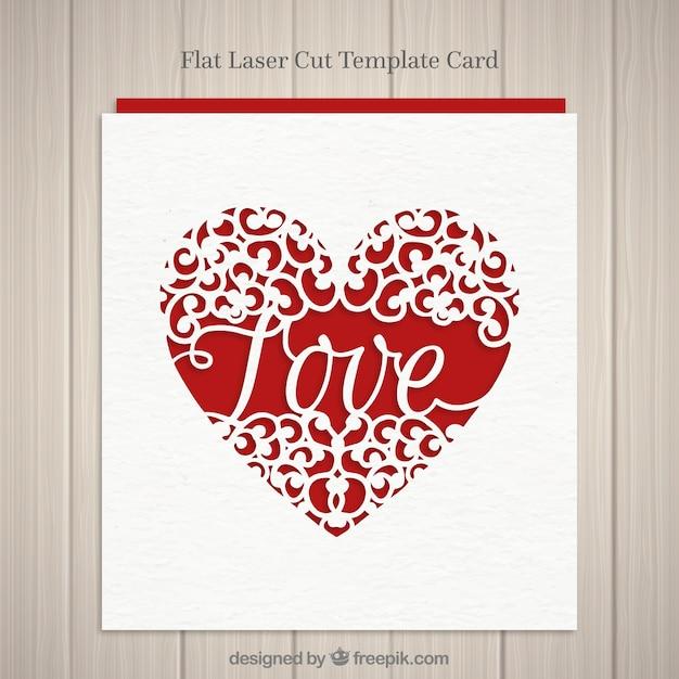 Carte de coeur avec le mot amour Vecteur gratuit