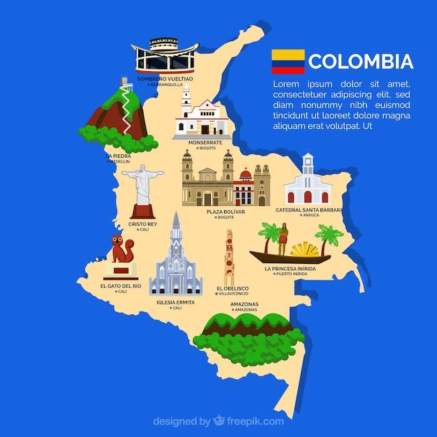 Carte de la colombie avec des points de repère Vecteur gratuit