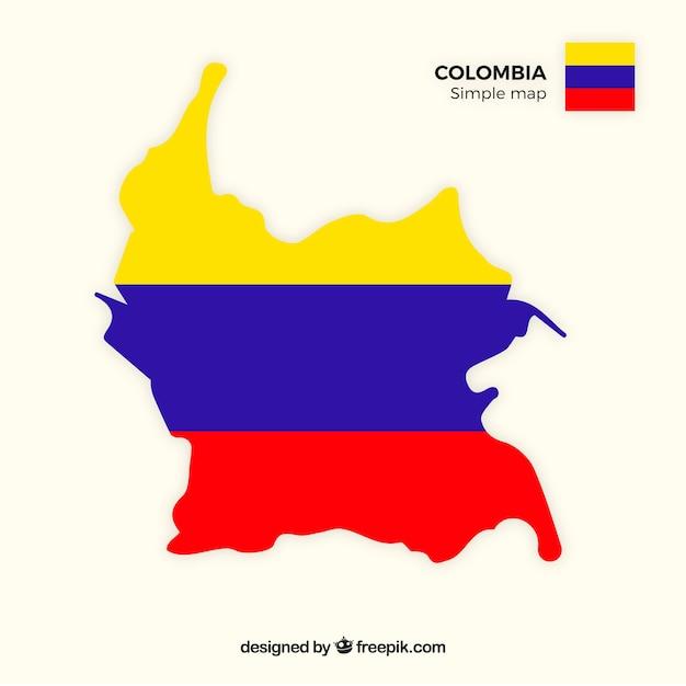 Carte De La Colombie Vecteur gratuit