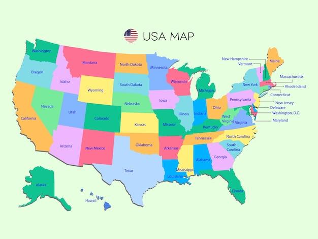 Carte Colorée Des Etats-unis Sur Fond Vert. Vecteur Premium