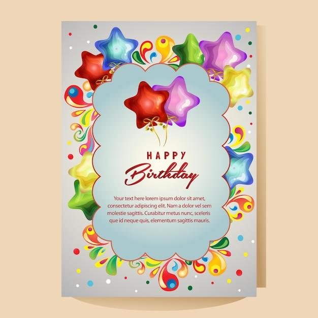 Carte Colorée De Joyeux Anniversaire Avec Ballon étoile