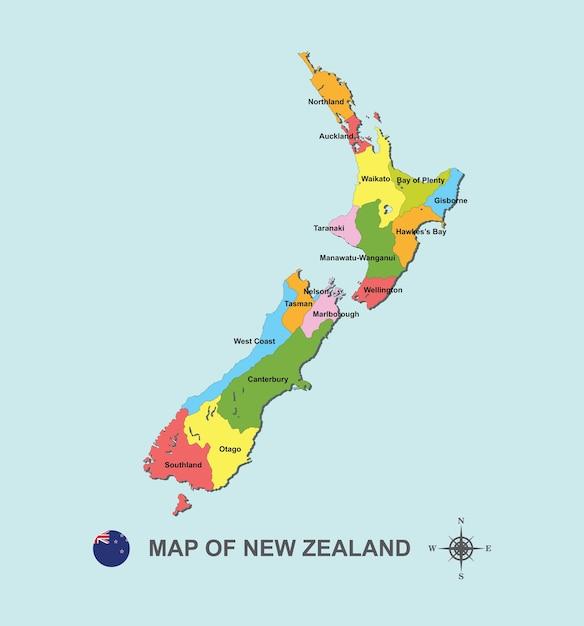 Carte Colorée De La Nouvelle-zélande Avec La Capitale Sur L'illustration Vectorielle Fond Bleu. Vecteur Premium