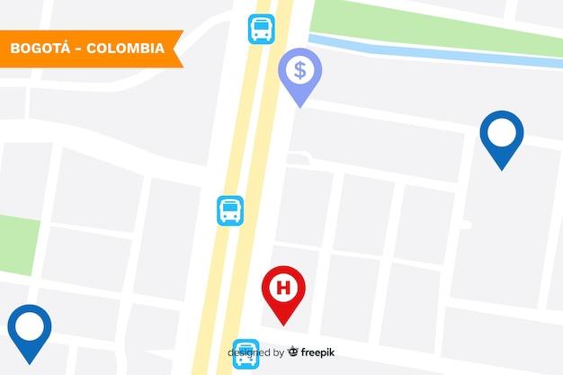 Carte colorée de la ville avec repère Vecteur gratuit