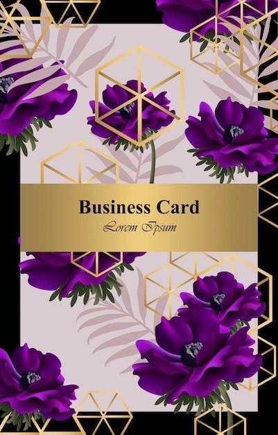 Carte de conception abstraite de fleurs de pavot pourpre vector. fond pour carte de visite, livre de marque ou affiche Vecteur Premium