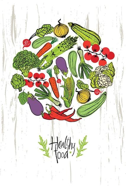 Carte de conception d'aliments sains Vecteur gratuit